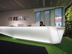 HB Reavis Prague - backlit reception