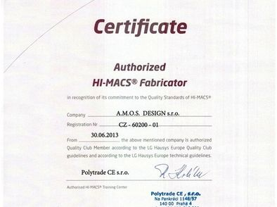 Certificate HI-MACS